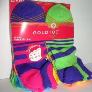 Gold Toe Big Girls' Six-Pack Liner Socks